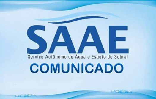 COMUNICADO DO SAAE DE SOBRAL SOBRE TURBIDEZ DA ÁGUA